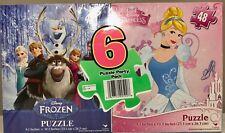 6 Disney Puzzles 48 Pieces Disney Princess Frozen Palace Pets Party Pack New