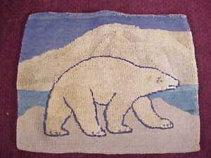 GRENFELL Hooked Rug Mat w Label POLAR BEAR Newfoundland Labrador Antique