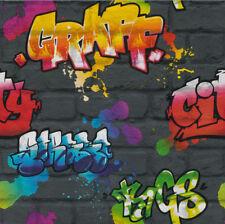 Graffiti Pittura Splash Effetto Mattone Carta da parati con texture Tipografia Grigio Scuro MultiSwagbracciodicontrollofrontaleposterioreBushX2PCaccoppiamentiBMW134F80F3031126855743