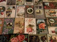 ~Lot of 30~ Pretty ~Flowers & Scenes~Antique Floral Greetings Postcards-s-436