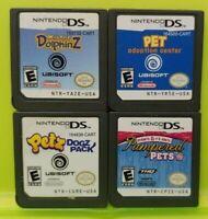 Nintendo DS Lite 2ds 3ds Game Lot Pet Adoption Pampered Dolphinz Petz Dogz Pack