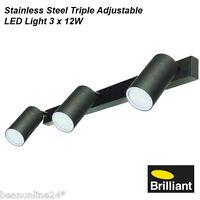 LED Stainless Steel Black Outdoor Adjustable Wall Light Set 3 x 12W GU10 240V
