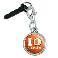 I Love Sushi Roll Heart Mobile Cell Phone Headphone Jack Charm