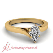 Yellow Gold Simple Solitaire Engagement Rings With Pear Shaped Diamond 1 Carat
