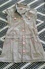 PUMPKIN PATCH Girls Grey Pink Button Up Pinafore Summer Dress Size 6