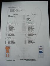1992 euro Campeones Copa final Barcelona v Sampdoria matchsheet