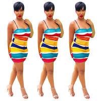Sexy Women Rainbow Stripes Printed Spaghetti Strap Bodycon Club Party Mini Dress