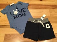 """Baby Gap Boys 6-12 Months Outfit. """"I Love Mom"""" Shirt & Navy Blue Shorts. Nwt"""