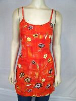 Bali Girl Orange Brown Yellow Cover Beach Tunic Top Dress Women's Medium