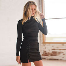 Women Ladies High Waisted Pencil Skirt Bodycon Suede Leather Mini Skirt Club