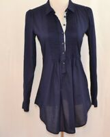 Anthropologie HD in Paris Navy Blue Cotton Pin Tuck Button Pullover Top Size 4