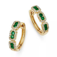 10k Yellow Gold Ladies Hoop Huggie Earrings 2.50 TCW Round Cut Emerald & Diamond