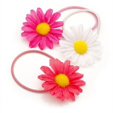 GIRLS 3pc SET OF 5cm DAISY FLOWER ELASTICS WHITE PINK & CORAL ON THIN HAIR BANDS