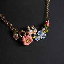Collier Oiseau Perroquet A Amour Bourgeon Fleur Rose Bleu Feuille Vert Perle L8