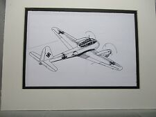 German Messarschmitt Me 410 Fighter artist pen ink  1964 New York Worlds Fair