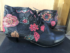 NEW Django and Juliette Black Floral Leather Ankle Boots Size 36