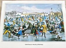 Currier & Ives Central Park Winter in  NY 15x11 Offset Lithograph Unsigned