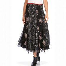 Free People Rock On Floral Maxi Skirt In Black Size 6 Chiffon