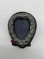 Vintage Heart Shaped Signed Sterling Silver Picture Frame D.P Ltd Lion