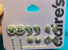 Six Pairs Of Claire's Silvertone And Turquoise Pierced Earrings New