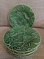 """Bordallo Pinheiro Set Of 5 Green Maple Leaf 8"""" Plates"""