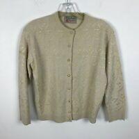 Vintage 1960s Sweater Size S Beige Embroidered Floral Cardigan Helen Harper