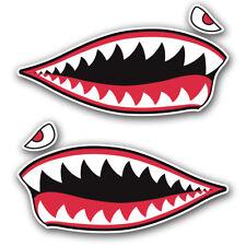 2pc Shark Teeth Sticker Vinyl Decal Set Hard Hat Motorcycle helmet toolbox car