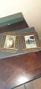 2 VINTAGE METAL BRUSHED BRASS FILIGREE STYLE PICTURE FRAMES W PHOTOS