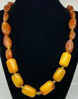Antique Matched Fatty Baltic Amber & Excavated Carnelian African Trade Beads