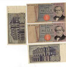 cartamoneta lire mille n:quattro pezzi-medusa-2° tipo