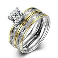Stainless Steel Double Ring Set With White Cubic Zirconia Various Sizes