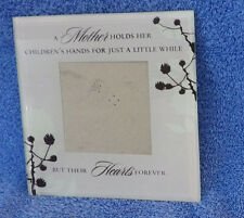 "Mother Child Hand Heart Glass Picture Frame 6"" x 6"" Holds 3"" x 3"" Photo"