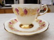 Rare Eb 1850 Foley China Footed Cup & Saucer Gold Leaves Vines Purplish Grapes