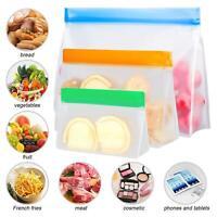 5/10xSilicone PEVA Food Preservation Storage Bag Fresh Sealer Pouch Zip Lock Lot