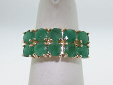 2.30TCW Natural Green Emeralds Solid 10K Yellow Gold Ring FREE SIZING
