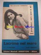 ROSANNA FRATELLO lacrime nel mare 1969 RARO SPARTITO SINGOLO italy cd lp dvd mc