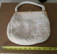 Vintage White Beaded Handbag Clutch Purse, Unique, Hong Kong, Retro Look