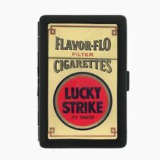 Lucky Strike Black Cigarette Case D60 Metal Wallet Vintage Cigarette Smoking Ad