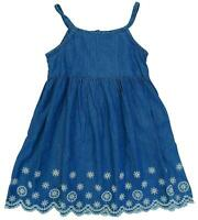 Girls Denim Chambray Strappy Broderie Anglaise Trim Sun Dress 9 Months - 6 Years