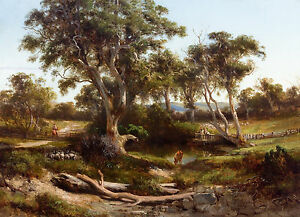 Louis Buvelot - Sheep Wash in the Western District, Australian Art, Canvas Print