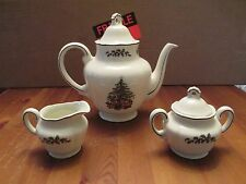 GRINDLEY ROYAL TUDOR CHRISTMAS TREE TEA SET TEAPOT CREAMER & SUGAR BOWL