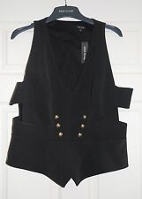 RIVER ISLAND BLACK MILITARY BUTTON CUT-OUT WAISTCOAT TOP VEST UK 18 EU 44 BNWT