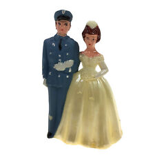 "Vintage Military Uniform Groom & Retro Bride 4"" Plastic Wedding Cake Topper"