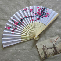 Chinese Folding Hand Fan Japanese Cherry Blossom Design Silk Costume Party .