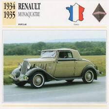 1934-1935 RENAULT MONAQUATRE Classic Car Photograph / Information Maxi Card