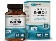 Neptune Krill Oil 1000mg by DailyNutra - High Absorption Omega-3 EPA DHA 60 ct