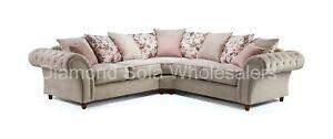 Sofa Roma Chesterfield -Large Corner, 3+2 Seater, 2C1-1C2, Armchair Beige Fabric