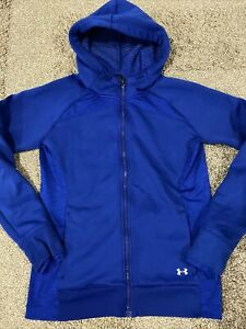 Under Armour Womens Blue Zip Up Hooded Jacket Cold Gear size M