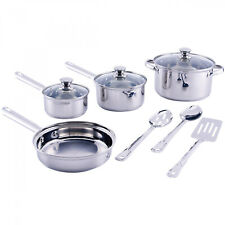 10-Pc Stainless Steel Cookware Set Kitchen Silver Pots Pans Lids Utensils Tools