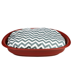 Large Red Plastic Oval Dog Basket With Soft Cushion Perfect For Dogs